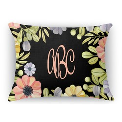 Boho Floral Rectangular Throw Pillow Case (Personalized)