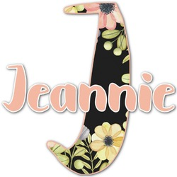 Boho Floral  Name & Initial Decal - Custom Sized (Personalized)