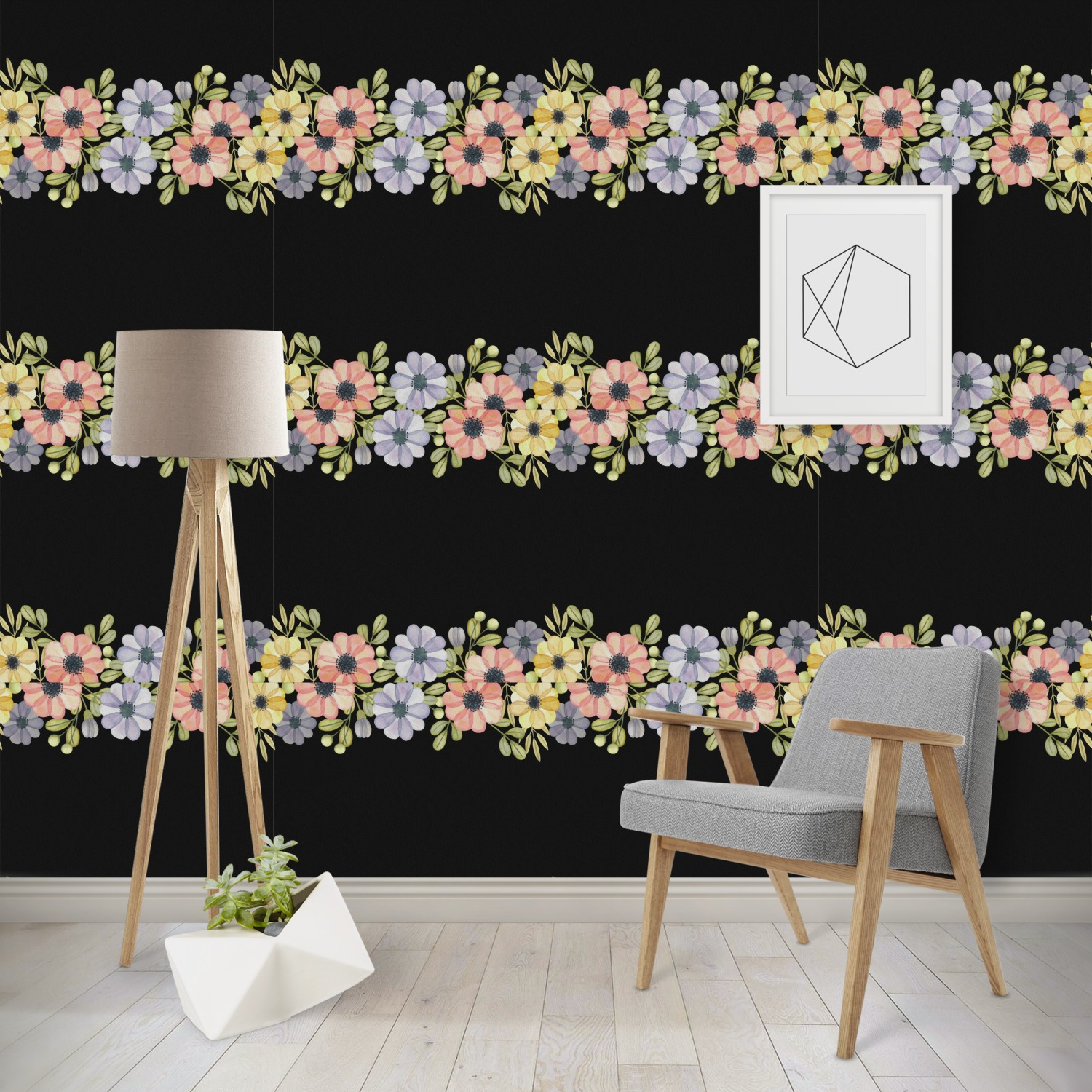 Boho Floral Wallpaper Surface Covering Water Activated Removable