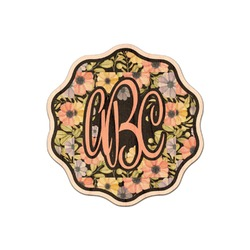 Boho Floral Genuine Maple or Cherry Wood Sticker (Personalized)
