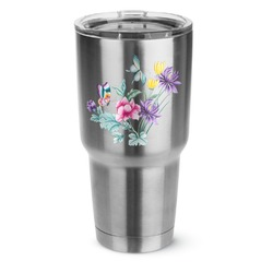 Chinoiserie 30 oz Silver Stainless Steel Tumbler w/Full Color Graphics (Personalized)