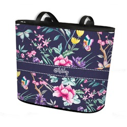 Chinoiserie Bucket Tote w/ Genuine Leather Trim (Personalized)