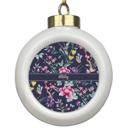 Chinoiserie Ceramic Ball Ornament (Personalized)
