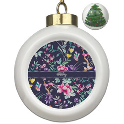Chinoiserie Ceramic Ball Ornament - Christmas Tree (Personalized)