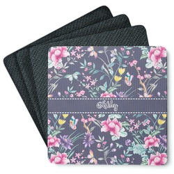Chinoiserie 4 Square Coasters - Rubber Backed (Personalized)