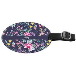 Chinoiserie Genuine Leather Oval Luggage Tag (Personalized)