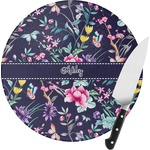 Chinoiserie Round Glass Cutting Board (Personalized)
