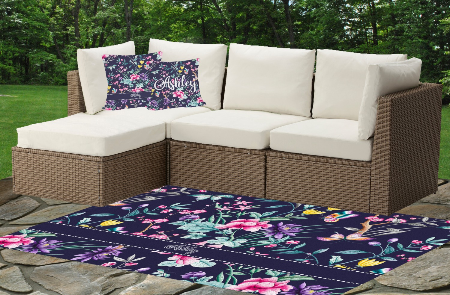 Chinoiserie Indoor Outdoor Rug Cushions