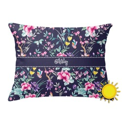 Chinoiserie Outdoor Throw Pillow (Rectangular) (Personalized)