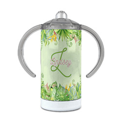 Tropical Leaves Border 12 oz Stainless Steel Sippy Cup (Personalized)