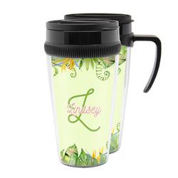 Tropical Leaves Border Acrylic Travel Mugs (Personalized)