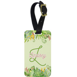 Tropical Leaves Border Aluminum Luggage Tag (Personalized)