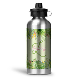 Tropical Leaves Border Water Bottle - Aluminum - 20 oz (Personalized)