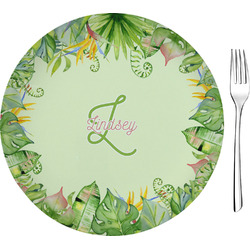 """Tropical Leaves Border Glass Appetizer / Dessert Plates 8"""" - Single or Set (Personalized)"""