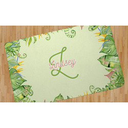Tropical Leaves Border Area Rug (Personalized)