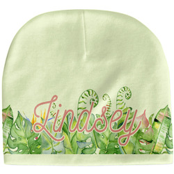 Tropical Leaves Border Baby Hat (Beanie) (Personalized)