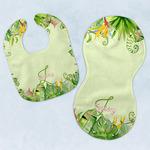Tropical Leaves Border Baby Bib & Burp Set w/ Name and Initial