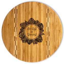 Tropical Leaves Border Bamboo Cutting Board (Personalized)