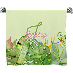 Tropical Leaves Border Full Print Bath Towel (Personalized)