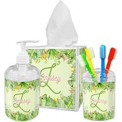 Tropical Leaves Border Bathroom Accessories Set (Personalized)