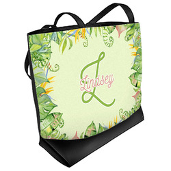 Tropical Leaves Border Beach Tote Bag (Personalized)