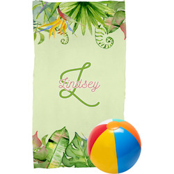 Tropical Leaves Border Beach Towel (Personalized)