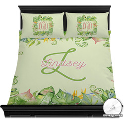 Tropical Leaves Border Duvet Cover Set (Personalized)