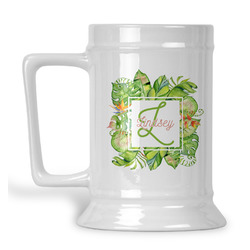 Tropical Leaves Border Beer Stein (Personalized)