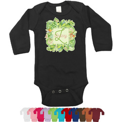 Tropical Leaves Border Bodysuit - Long Sleeves (Personalized)