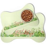 Tropical Leaves Border Bone Shaped Dog Food Mat (Personalized)