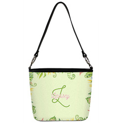 Tropical Leaves Border Bucket Bag w/ Genuine Leather Trim (Personalized)