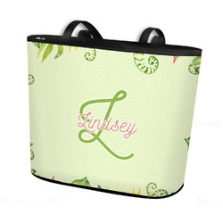 Tropical Leaves Border Bucket Tote w/ Genuine Leather Trim (Personalized)