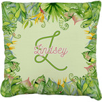 Tropical Leaves Border Faux-Linen Throw Pillow (Personalized)