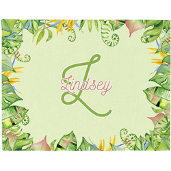 Tropical Leaves Border Woven Fabric Placemat - Twill w/ Name and Initial