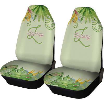 Tropical Leaves Border Car Seat Covers (Set of Two) (Personalized)