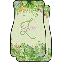 Tropical Leaves Border Car Floor Mats (Front Seat) (Personalized)
