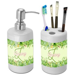Tropical Leaves Border Bathroom Accessories Set (Ceramic) (Personalized)