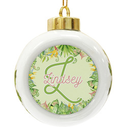 Tropical Leaves Border Ceramic Ball Ornament (Personalized)