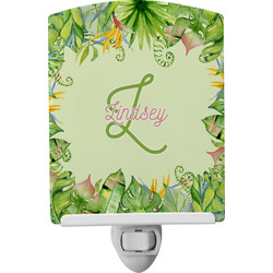 Tropical Leaves Border Ceramic Night Light (Personalized)