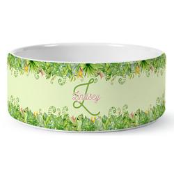 Tropical Leaves Border Ceramic Pet Bowl (Personalized)