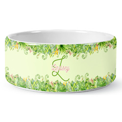 Tropical Leaves Border Ceramic Dog Bowl (Personalized)