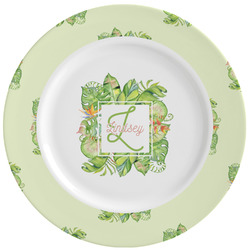 Tropical Leaves Border Ceramic Dinner Plates (Set of 4) (Personalized)