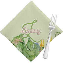 Tropical Leaves Border Napkins (Set of 4) (Personalized)