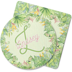 Tropical Leaves Border Rubber Backed Coaster (Personalized)