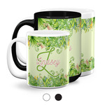 Tropical Leaves Border Coffee Mugs (Personalized)