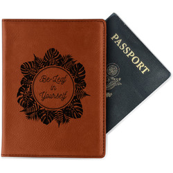 Tropical Leaves Border Leatherette Passport Holder (Personalized)
