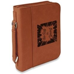 Tropical Leaves Border Leatherette Book / Bible Cover with Handle & Zipper (Personalized)