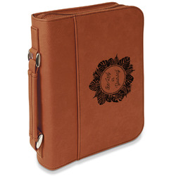Tropical Leaves Border Leatherette Bible Cover with Handle & Zipper - Large- Single Sided (Personalized)
