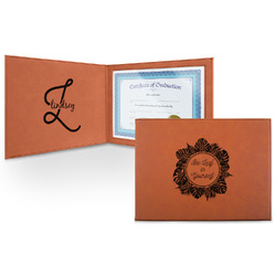 Tropical Leaves Border Leatherette Certificate Holder (Personalized)