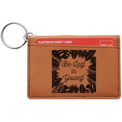 Tropical Leaves Border Leatherette Keychain ID Holder (Personalized)